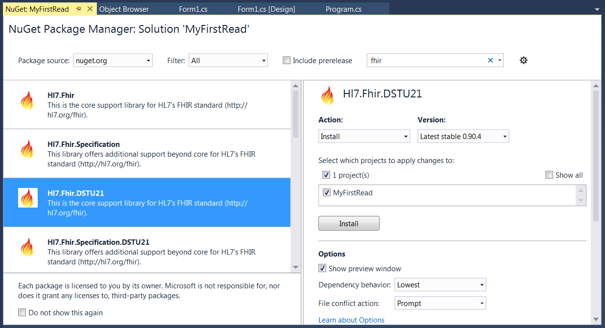 Setting up your  Net project to make a FHIR client
